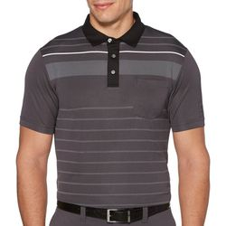PGA TOUR Mens Vintage Panel Stripe Polo Shirt