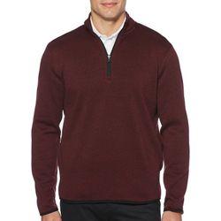 PGA TOUR Mens Heathered Fleece Quarter Zip Pullover Sweater