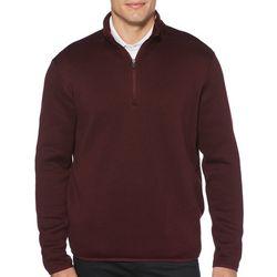PGA TOUR Mens Solid Fleece Quarter Zip Pullover Sweater