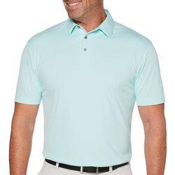 PGA TOUR Mens Stripe Jacquard Short Sleeve Polo