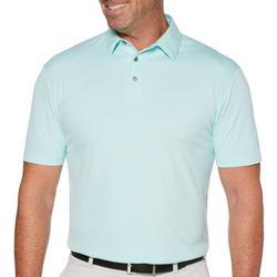 Mens Stripe Jacquard Short Sleeve Polo Shirt