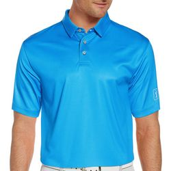 PGA TOUR Mens Gingham Print Short Sleeve Polo Shirt