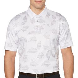 Mens Leaf Print Short Sleeve Polo Shirt