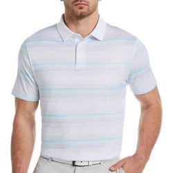 Mens Grid Stripe Print Polo Shirt