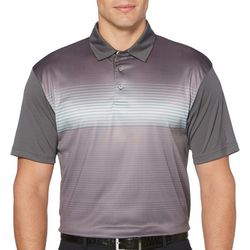 Mens Ombre Stripe Print Polo Shirt