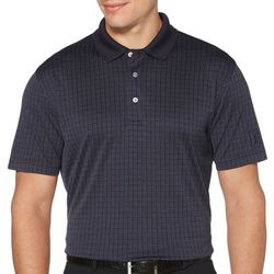 PGA TOUR Mens Jacquard Windowpane Print Polo Shirt