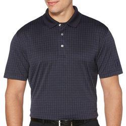 Mens Jacquard Windowpane Print Polo Shirt