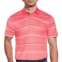 PGA TOUR Mens All Over Stripes Print Polo Shirt