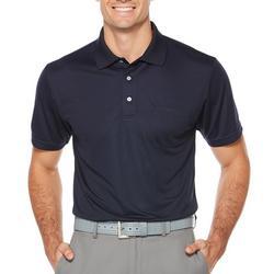 Mens Pocket Solid Polo Shirt