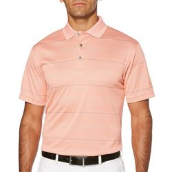 PGA TOUR Mens Jacquard Stripe Double Knit Polo Shirt