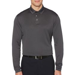 PGA TOUR Mens Oxford Solid Long Sleeve Polo Shirt