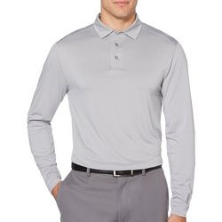 PGA TOUR Mens Heathered Stripe Long Sleeve Polo Shirt