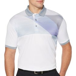 PGA TOUR Mens Stripe Print Short Sleeve Polo Shirt