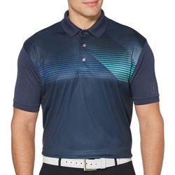 Mens Stripe Print Short Sleeve Polo Shirt