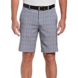 Mens Flat Front Glen Plaid Shorts