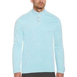 PGA Tour Mens Long Sleeve Slub Polo Shirt