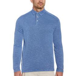 Mens Long Sleeve Slub Polo Shirt