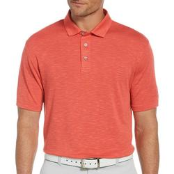 Mens Heathered Slub Short Sleeve Polo Shirt