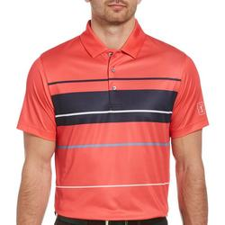 Mens Bold Block Stripe Short Sleeve Polo Shirt