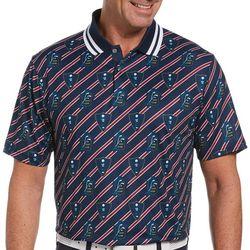 PGA TOUR Mens ECO All Over Crest Print Polo Shirt