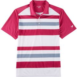 Golf America Mens Stripe Print Raglan Polo Shirt