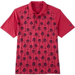 Golf America Mens Palm Tree Print Performance Polo Shirt