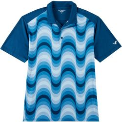 Mens Wave Print Raglan Polo Shirt