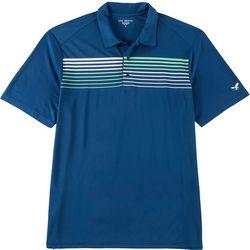 Golf America Mens Stripe Chest Print Performance Polo Shirt