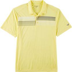 Mens Stripe Chest Print Performance Polo Shirt