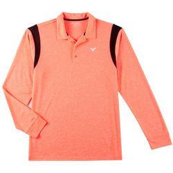 Mens Solid Shoulder Long Sleeve Polo Shirt