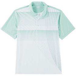 Mens Radiating Stripe Performance Polo Shirt