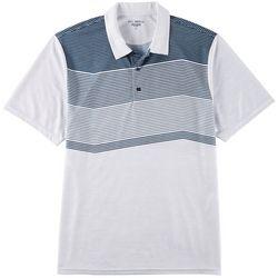 Mens Zip Zag Stripe Performance Polo Shirt