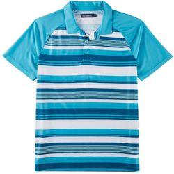 Mens Striped Raglan Performance Polo Shirt