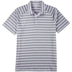 Golf America Mens Striped Performance Polo Shirt