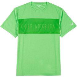 Golf America Mens Logo Mesh Front Crew T-Shirt