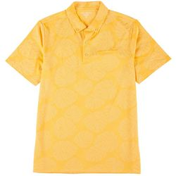 Golf America Mens Tropical Leaf Self Collar Polo Shirt