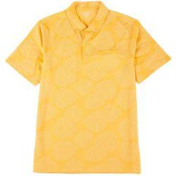 Mens Tropical Leaf Self Collar Polo Shirt