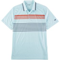 Golf America Mens Ribbed Collar Chest Stripe Polo Shirt