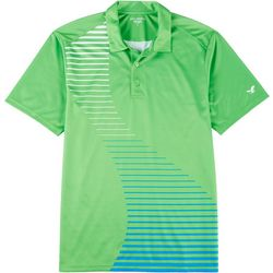 Golf America Mens Solid Stripe Mesh Polo Shirt