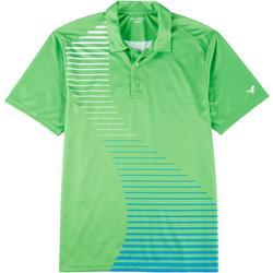 Mens Solid Stripe Mesh Polo Shirt