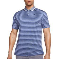 Mens Dri-Fit Vapor Stripe Print Short Sleeve Golf Polo