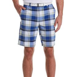 Jack Nicklaus Mens Plaid Print Flat Front Golf Shorts