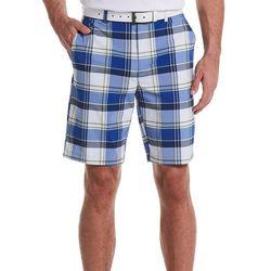 Mens Plaid Print Flat Front Golf Shorts