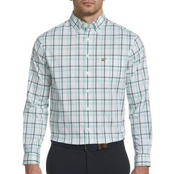Jack Nicklaus Mens Plaid Print Woven Long Sleeve Shirt