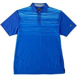 Mens Stripe Chest Print Golf Polo Shirt