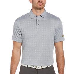 Mens Mini Paisley Print Twill Golf Polo Shirt