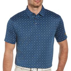 Mens Printed Twill Golf Polo Shirt