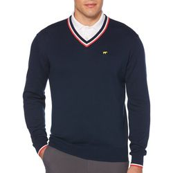 Jack Nicklaus Mens Solid Stripe V-Neck Sweater