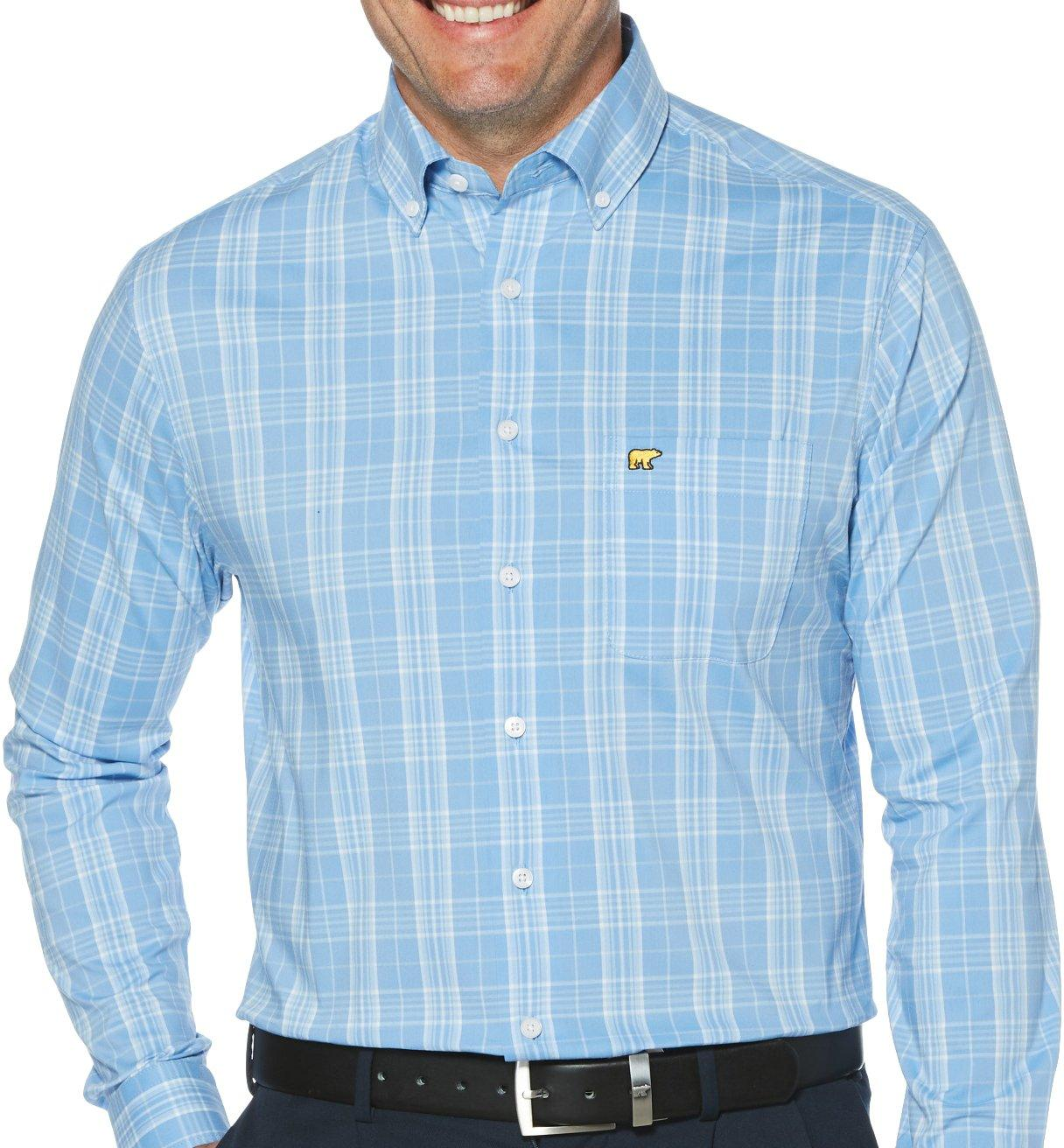 Jack Nicklaus Mens Woven Multi-Color Gingham Button-Front Shirt