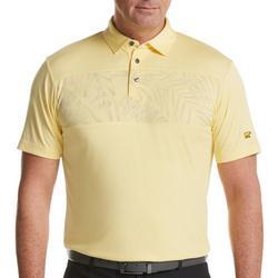 Mens Palm Leaf Chest Print Golf Polo Shirt